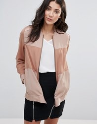 Neon Rose Panelled Bomber Jacket Nude Pink