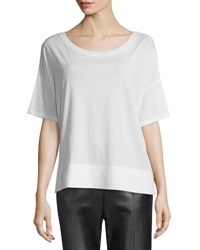 Vince Round Neck Short Sleeve Cotton Tee Off White