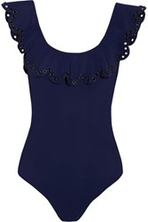 Karla Colletto Temptation Ruffled Embellished Swimsuit Navy