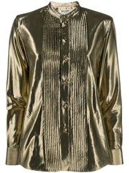 Saint Laurent Button Down Metallic Shirt Gold