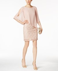 Connected Lace Cold Shoulder Cape Dress Pink
