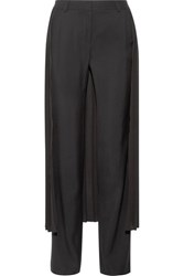 Adam By Adam Lippes Layered Pleated Georgette And Crepe Wide Leg Pants Black