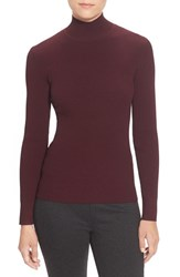 Women's Pink Tartan Back Cutout Rib Knit Turtleneck Oxblood