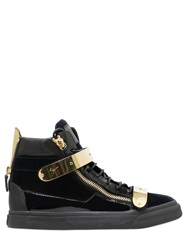 Giuseppe Zanotti Bangle Velvet And Patent Leather Sneakers Black Blue