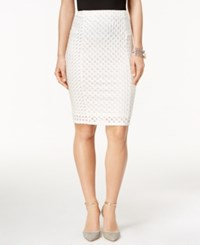 Cece By Cynthia Steffe Jacquard Pencil Skirt New Ivory