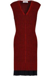 Pringle Ribbed Merino Wool And Silk Blend Dress Red
