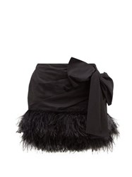 N 21 No. Side Bow Feather Trimmed Cotton Mini Skirt Black
