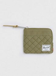 Topman Herschel Green Quilted Johnny Zip Wallet