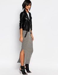 Vero Moda Stripe Tube Skirt White And Khaki Multi