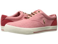 Polo Ralph Lauren Vaughn Red Rl Red End Canvas Sport Suede Men's Shoes Pink
