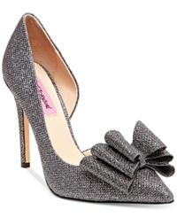 Betsey Johnson Prince D'orsay Evening Pumps Women's Shoes Pewter Sparkle