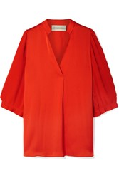By Malene Birger Sanah Pleated Crepe And Georgette Blouse Orange