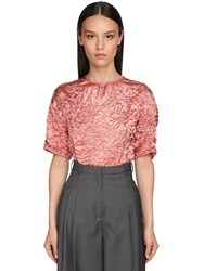 Rochas Broken Short Sleeved Acetate Top Pink