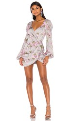 For Love And Lemons Jardin Floral Mini Dress In Purple Gray. Gris