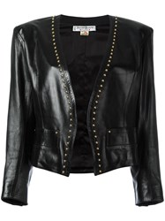 Yves Saint Laurent Vintage Studded Trim Leather Jacet Black