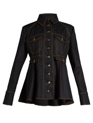 Ellery Bonnie Fluted Hem Denim Jacket Black