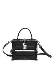 Dolce And Gabbana Miss Piano Wood Snakeskin Top Handle Bag Black