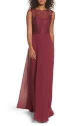 Hayley Paige Occasions Women's Lace And Chiffon A Line Gown Burgundy