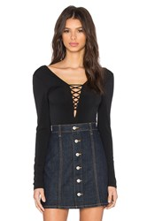 Bcbgeneration Lace Up Front Bodysuit Black