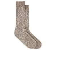 Barneys New York Rib Knit Cotton Mid Calf Socks Beige Tan