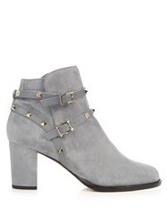 Valentino Rockstud Suede Ankle Boots Light Grey