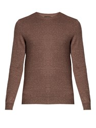 A.P.C. Crew Neck Cotton Blend Sweater Brown