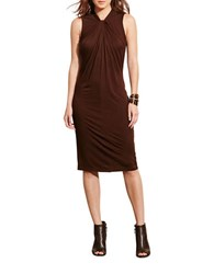 Lauren Ralph Lauren Twist Neck Jersey Dress Brown