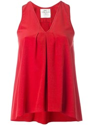 Forte Forte Pleated Detail Sleeveless Blouse Red