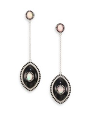Marlo Laz Icon Opal Black Spinel Black Onyx And Sterling Silver Iris Drop Earrings Silver Black