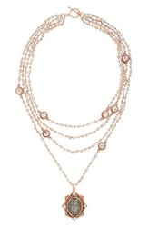 Virgins Saints And Angels Women's 'Oval Magdalena' Necklace Nordstrom Exclusive Rose Gold Grey Opal