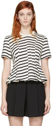 Alexander Wang T By Ivory Striped Peplum Pullover