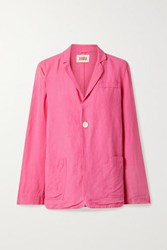 Solid And Striped Linen Blend Blazer Pink