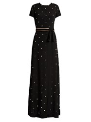 N 21 Mirror Embellished Short Sleeved Crepe Gown