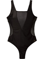 Brigitte Sheer Panels Swimsuit Black