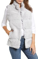 Love Token Genuine Rabbit Fur Vest Lt Grey