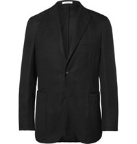 Boglioli Black Slim Fit Unstructured Wool Hopsack Blazer Black