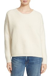 Vince Women's Rib Wool Blend Crewneck Sweater Winter White