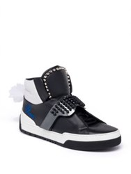 Fendi Karlito Studded High Top Calf Leather Sneakers Black White