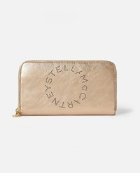 Stella Mccartney Beige Logo Zip Around Wallet