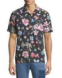 Ovadia And Sons Beach Bouquet Short Sleeve Sport Shirt Black