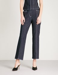 Thierry Mugler Topstitched Cropped Straight High Rise Jeans Cosmos