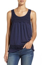 Women's Caslon Boho Lace Trim Tank Navy Peacoat