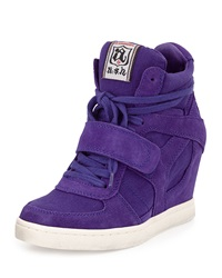 Ash Suede And Canvas Wedge Sneaker Saphire