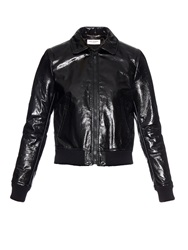 Saint Laurent High Shine Leather Aviator Jacket