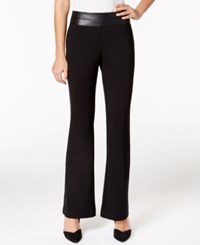 Alfani Faux Leather Trim Trousers Only At Macy's Deep Black