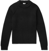 Saint Laurent Ribbed Wool And Cashmere Blend Sweater Black