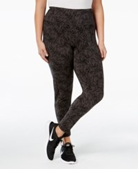 Styleandco. Style Co. Plus Size Printed Tummy Control Yoga Leggings Only At Macy's Deep Black