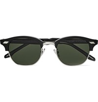 Cutler And Gross Square Frame Acetate Silver Tone Sunglasses Black
