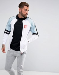 11 Degrees Track Jacket In White With Blue Panels White