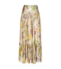 Etro Pleated Metallic Silk Skirt Gold